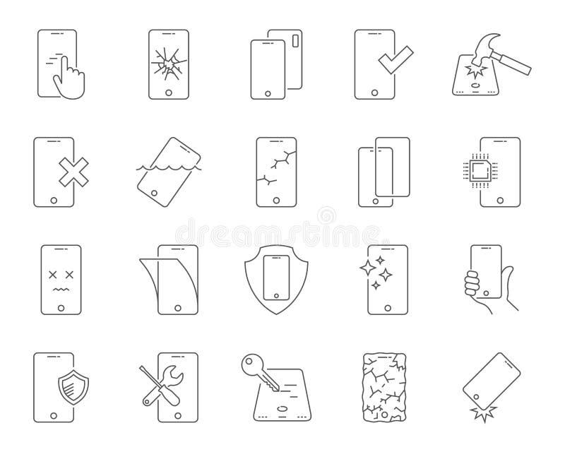 Επισκευή των εικονιδίων smartphones καθορισμένων Θραύση και προστασία του smartphone, λεπτό σχέδιο γραμμών Κέντρο επισκευής edita ελεύθερη απεικόνιση δικαιώματος