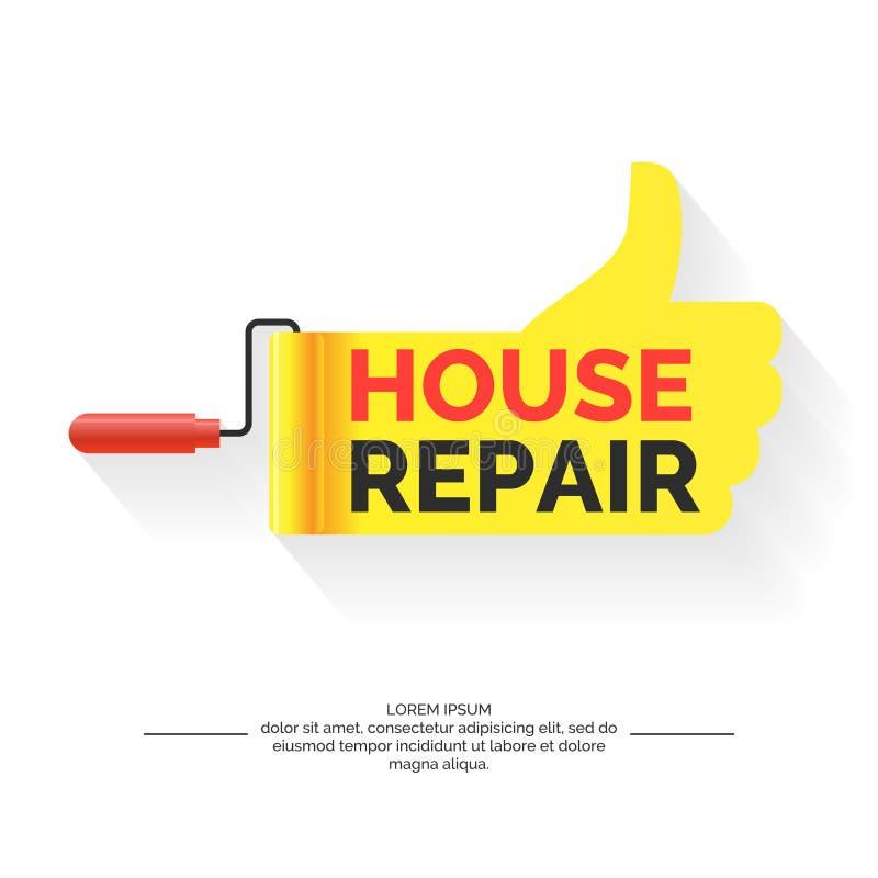 Επισκευή των σπιτιών και των κτηρίων, της σύγχρονων ζωηρών αφίσας και του λογότυπου απεικόνιση αποθεμάτων