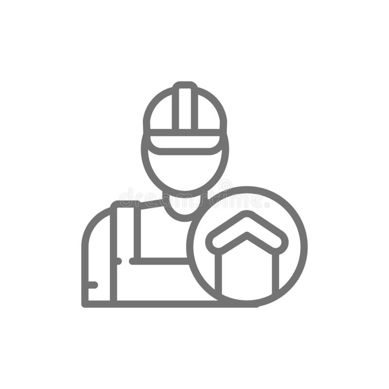Επισκευαστής, επιστάτης, οικοδόμος, εικονίδιο γραμμών αρχιτεκτόνων διανυσματική απεικόνιση