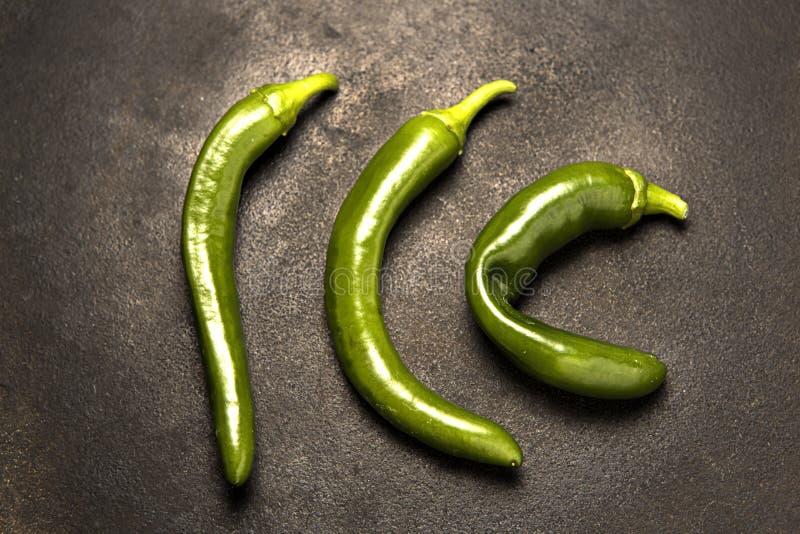 Επισκόπηση τριών πράσινων πιπεριών στοκ εικόνες