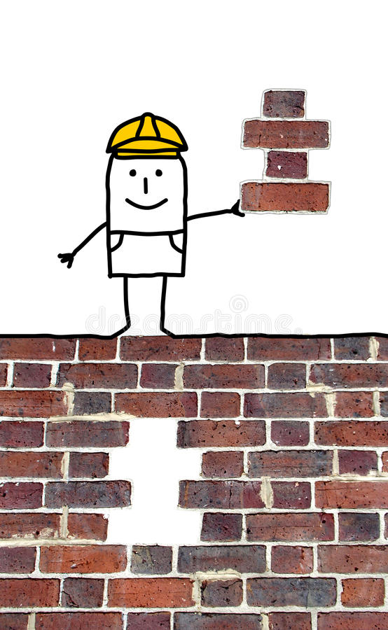 Επιστάτης κινούμενων σχεδίων που κρατά ένα ελλείπον κομμάτι για έναν τοίχο ελεύθερη απεικόνιση δικαιώματος