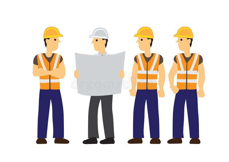 Επιστάτης που ενημερώνει τους εργάτες οικοδομών του στην εργασία τους Έννοια της ομαδικής εργασίας διανυσματική απεικόνιση