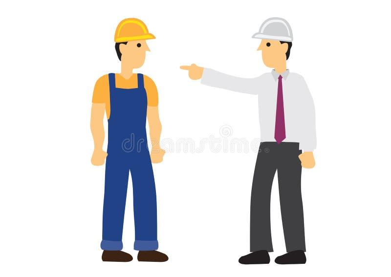 0 επιστάτης που επιπλήττει έναν εργάτη οικοδομών διανυσματική απεικόνιση