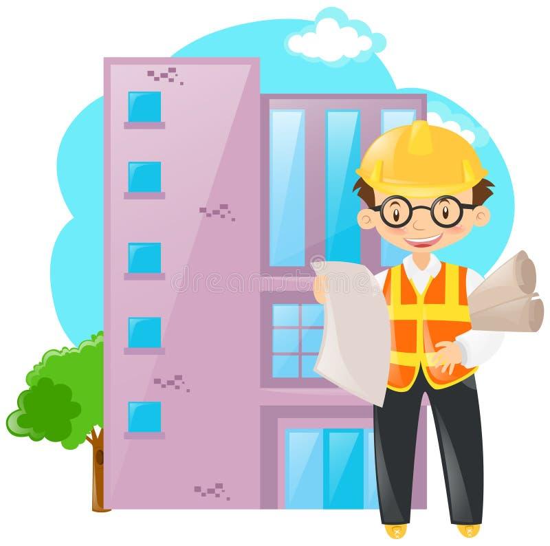 Επιστάτης που εργάζεται στην οικοδόμηση ελεύθερη απεικόνιση δικαιώματος