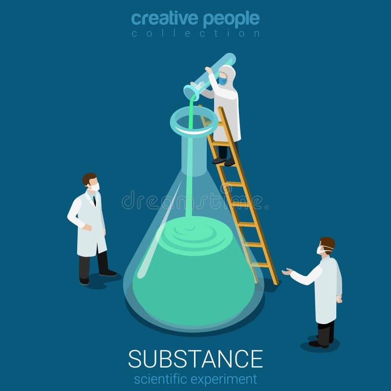Επιστήμης επίπεδος διανυσματικός isometric τρισδιάστατος εργαστηρίων ουσιών πειράματος νέος απεικόνιση αποθεμάτων