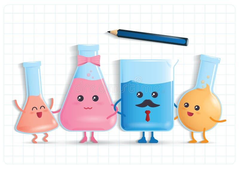 Επιστήμη διασκέδασης με τη χαριτωμένη οικογένεια φιαλών εργαστηρίων απεικόνιση αποθεμάτων