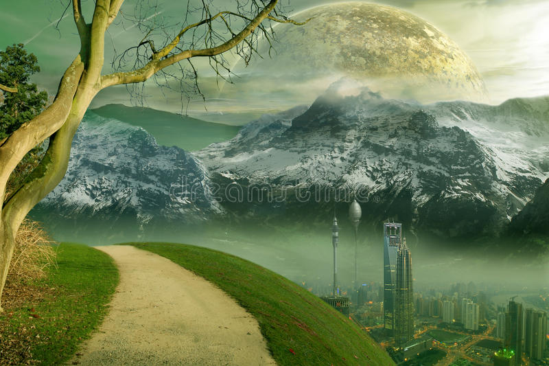επιστήμη μυθιστοριογραφίας πόλεων διανυσματική απεικόνιση