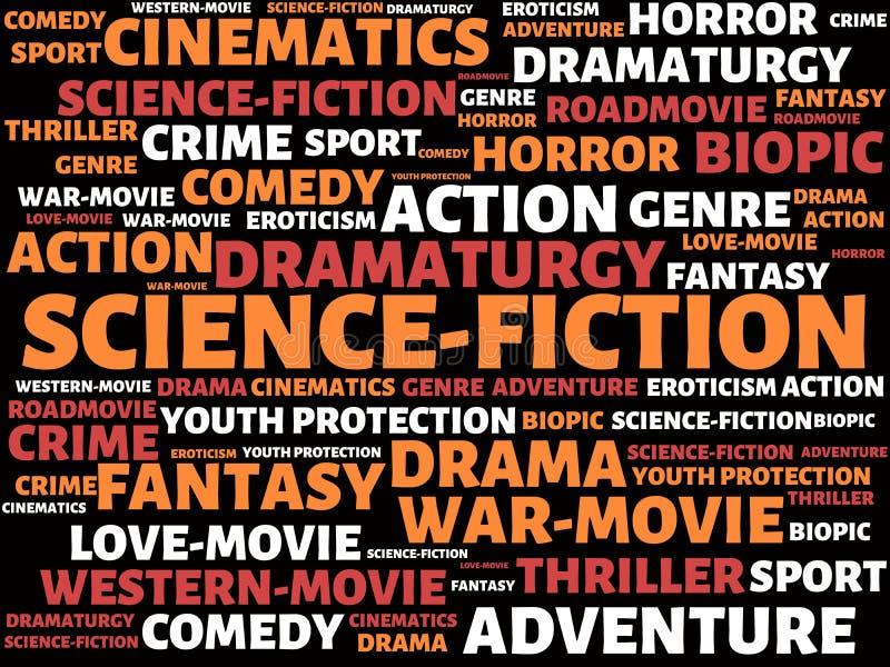 Επιστήμη-ΜΥΘΙΣΤΟΡΙΟΓΡΑΦΙΑ - εικόνα με τις λέξεις που συνδέονται με τον ΚΙΝΗΜΑΤΟΓΡΑΦΟ θέματος, λέξη, εικόνα, απεικόνιση διανυσματική απεικόνιση