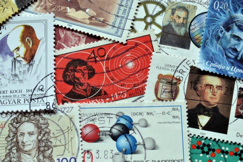 Επιστήμη στα γραμματόσημα στοκ εικόνες