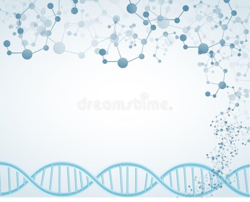Επιστήμη στο απομονωμένο υπόβαθρο με το θέμα DNA και μοριακός ελεύθερη απεικόνιση δικαιώματος