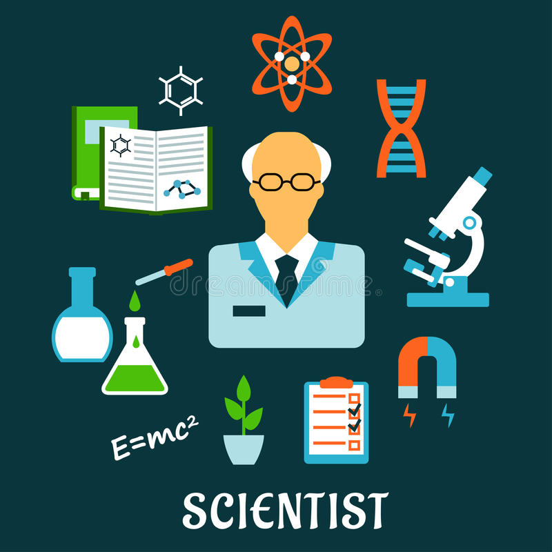 Επιστήμονας με τα επίπεδα εικονίδια έρευνας και επιστήμης απεικόνιση αποθεμάτων
