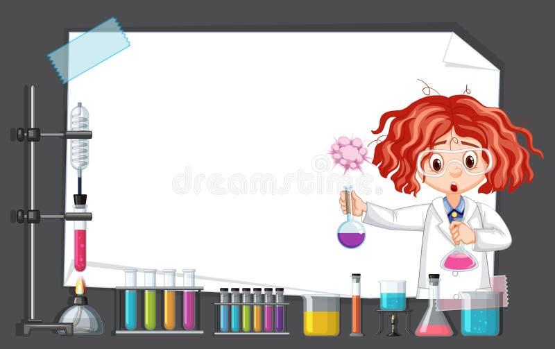 Επιστήμονας που εργάζεται με τα εργαλεία επιστήμης στο εργαστήριο γύρω από το πρότυπο πλαισίων απεικόνιση αποθεμάτων