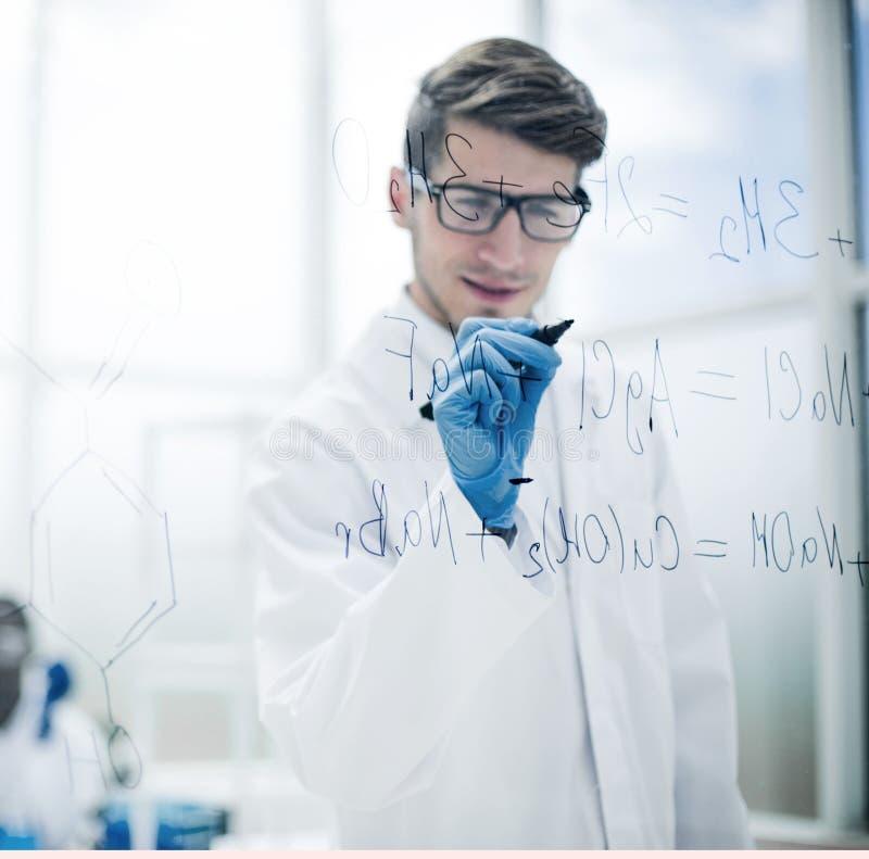 Επιστήμονας που κάνει τις σημειώσεις για τον πίνακα γυαλιού κατά την διάρκεια του πειράματος στοκ φωτογραφίες με δικαίωμα ελεύθερης χρήσης