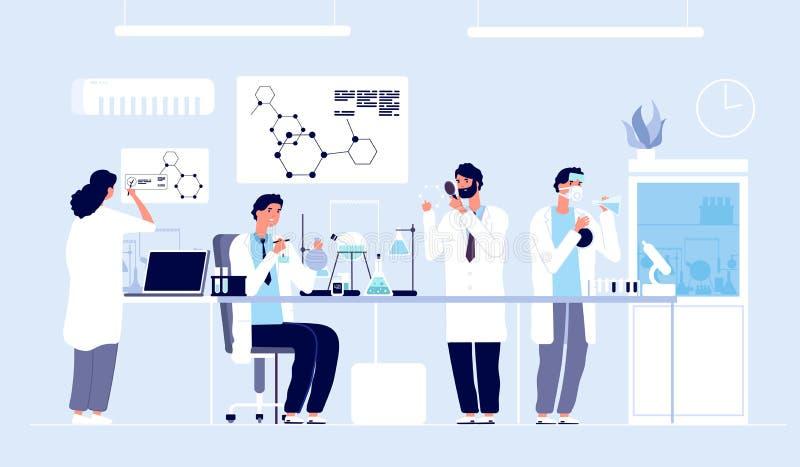 Επιστήμονες στο εργαστήριο Άνθρωποι στο άσπρο παλτό, χημικοί ερευνητές με τον εργαστηριακό εξοπλισμό Διάνυσμα κινούμενων σχεδίων  διανυσματική απεικόνιση