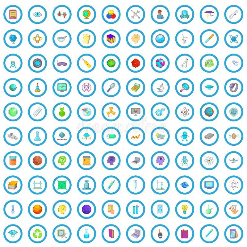 100 επιστημονικά εικονίδια καθορισμένα, ύφος κινούμενων σχεδίων διανυσματική απεικόνιση