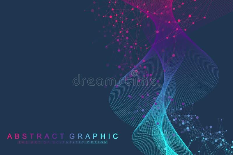 Επιστημονική διανυσματική έννοια γενετικής εφαρμοσμένης μηχανικής απεικόνισης και χειρισμού γονιδίων Έλικας DNA, σκέλος DNA, μόρι απεικόνιση αποθεμάτων