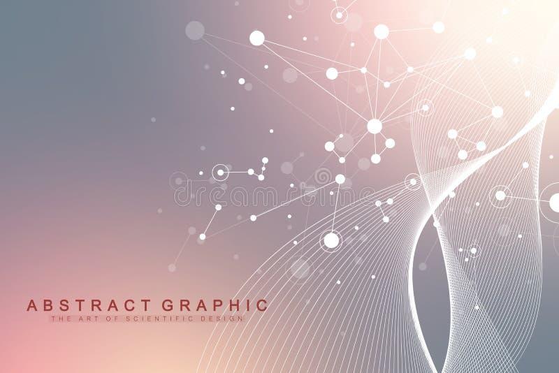 Επιστημονική διανυσματική έννοια γενετικής εφαρμοσμένης μηχανικής απεικόνισης και χειρισμού γονιδίων Έλικας DNA, σκέλος DNA, μόρι διανυσματική απεικόνιση