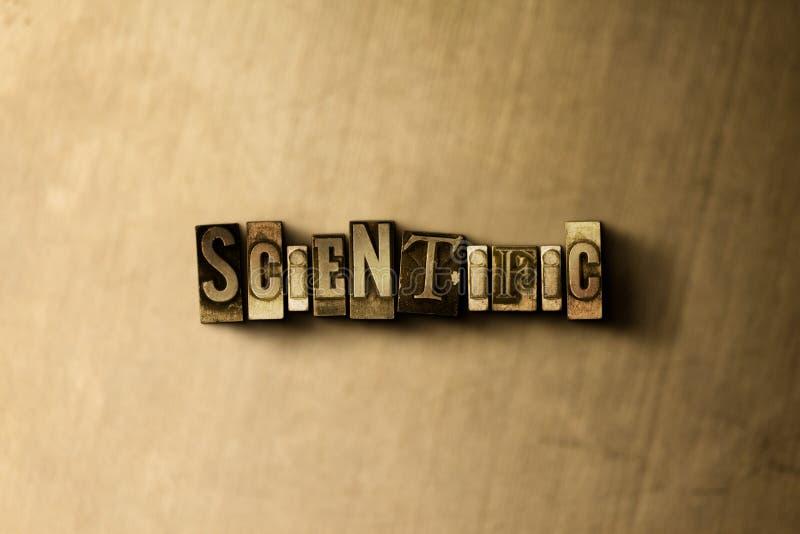 ΕΠΙΣΤΗΜΟΝΙΚΟΣ - κινηματογράφηση σε πρώτο πλάνο της βρώμικης στοιχειοθετημένης τρύγος λέξης στο σκηνικό μετάλλων διανυσματική απεικόνιση