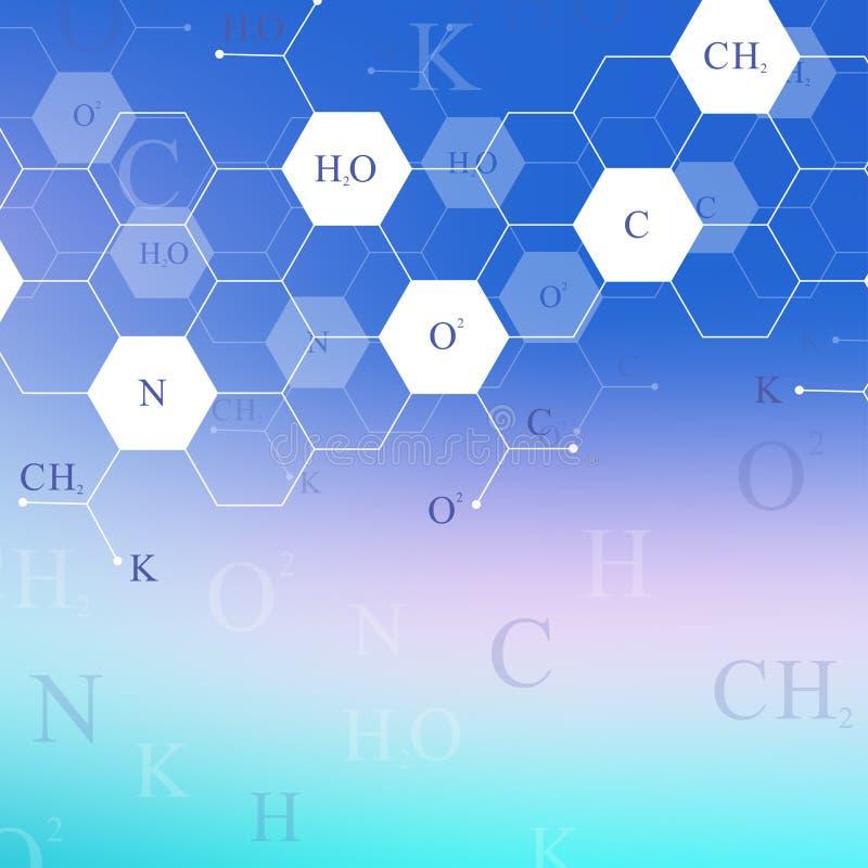 Επιστημονικό εξαγωνικό σχέδιο χημείας Έρευνα DNA μορίων δομών ως έννοια Υπόβαθρο επιστήμης και τεχνολογίας διανυσματική απεικόνιση