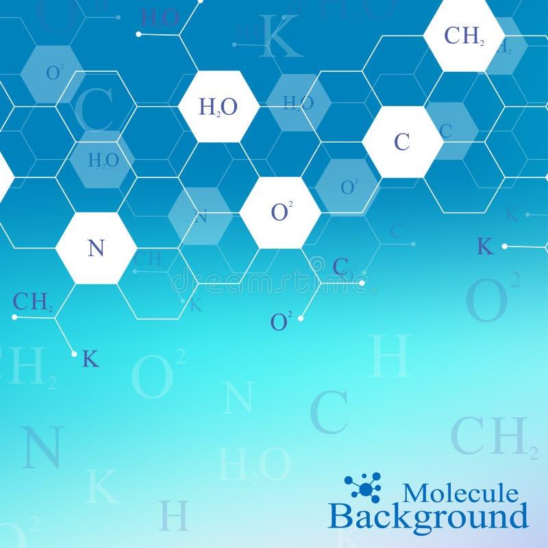 Επιστημονικό εξαγωνικό σχέδιο χημείας Έρευνα DNA μορίων δομών ως έννοια Υπόβαθρο επιστήμης και τεχνολογίας ελεύθερη απεικόνιση δικαιώματος