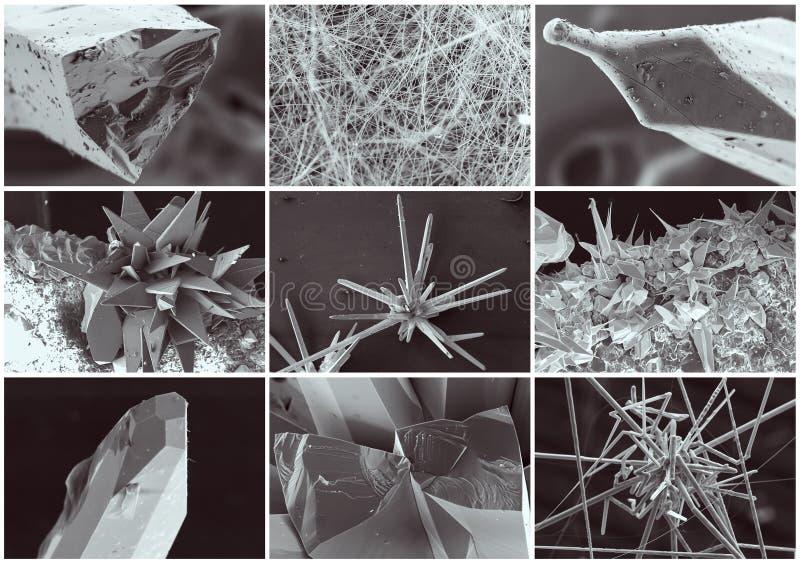 Επιστημονικό κολάζ Κρύσταλλο στο ηλεκτρονικό μικροσκόπιο στοκ φωτογραφία