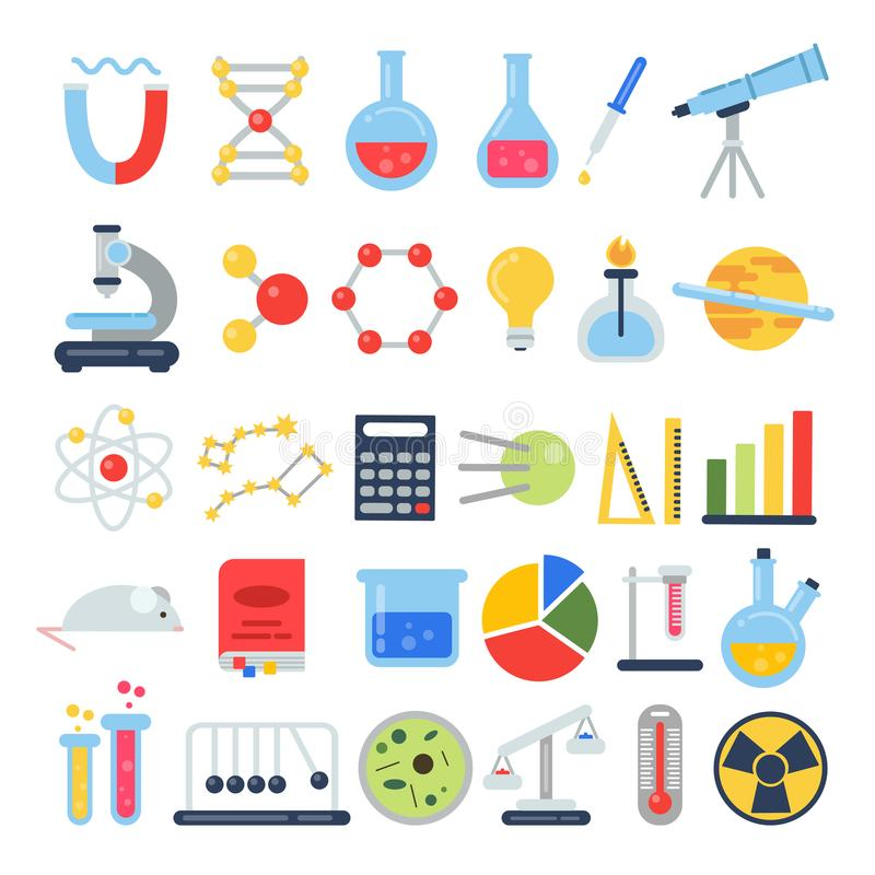 Επιστημονικό σύνολο εικονιδίων Εργαστήριο επιστήμης με το διαφορετικό εξοπλισμό Διανυσματικές εικόνες στο επίπεδο ύφος ελεύθερη απεικόνιση δικαιώματος