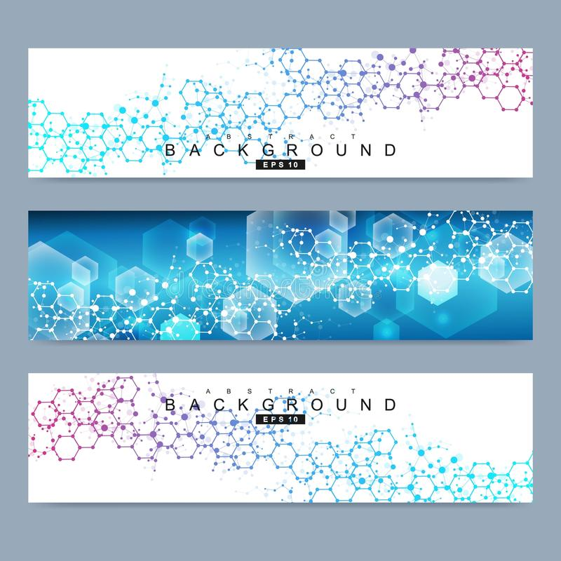 Επιστημονικό σύνολο σύγχρονων διανυσματικών εμβλημάτων Δομή μορίων DNA με τις συνδεδεμένα γραμμές και τα σημεία Διανυσματικό υπόβ διανυσματική απεικόνιση