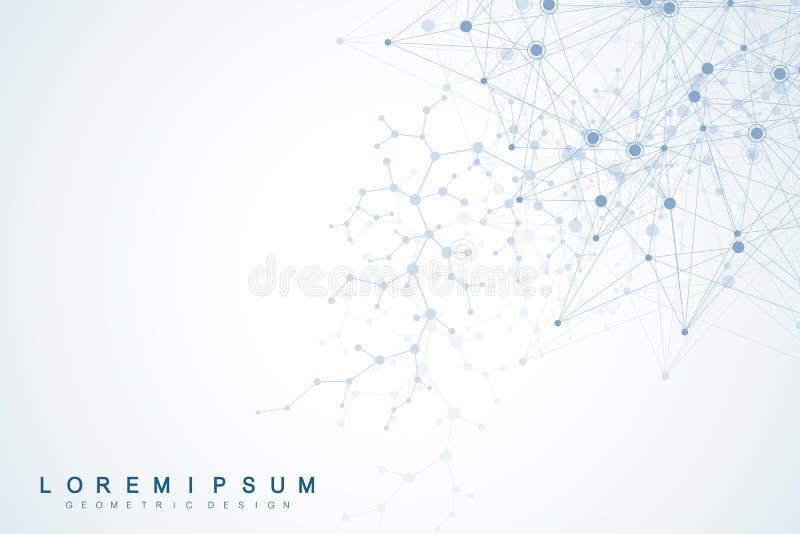 Επιστημονικό υπόβαθρο μορίων για την ιατρική, επιστήμη, τεχνολογία, χημεία Ταπετσαρία ή έμβλημα με τα μόρια ενός DNA διανυσματική απεικόνιση