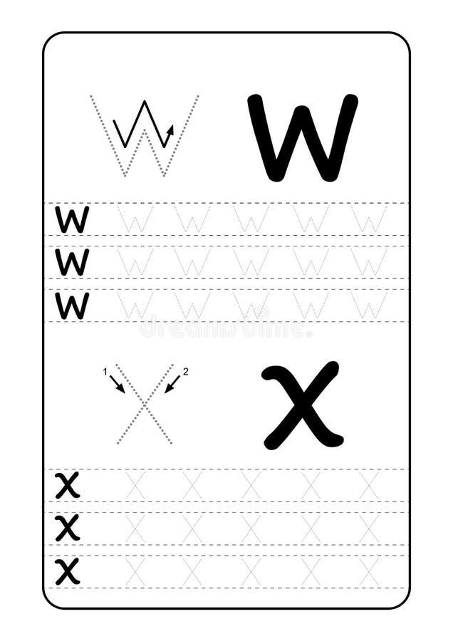 Επιστολές αλφάβητου ABC που επισημαίνουν το φύλλο εργασίας με τις επιστολές αλφάβητου Βασική πρακτική γραψίματος για το έγγραφο π απεικόνιση αποθεμάτων
