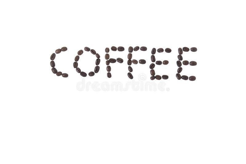 επιστολές καφέ φασολιών ανασκόπησης που γίνονται άσπρο γραπτό στοκ φωτογραφία με δικαίωμα ελεύθερης χρήσης