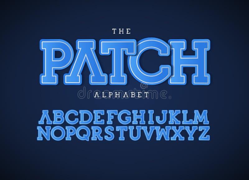 Επιστολές μπαλωμάτων καθορισμένες Τολμηρό διανυσματικό λατινικό αλφάβητο Μπλε πηγή χρώματος Μπάλωμα applique ABC, υφαντικά μονόγρ ελεύθερη απεικόνιση δικαιώματος