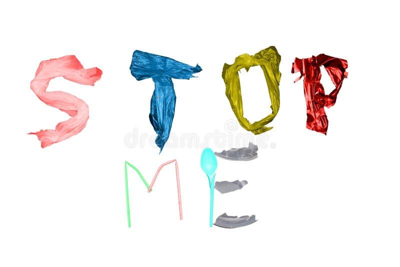 Επιστολές που βρίσκονται σε ένα μπλε υπόβαθρο Σταματήστε το δηλητήριο της τοξικής αποσύνθεσης του πλαστικού στοκ φωτογραφίες με δικαίωμα ελεύθερης χρήσης