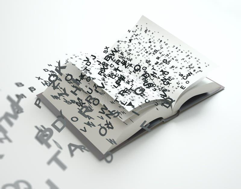 Επιστολές που πετούν από ένα βιβλίο απεικόνιση αποθεμάτων