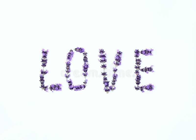 Επιστολές της αγάπης από τα φρέσκα lavender λουλούδια στοκ φωτογραφίες με δικαίωμα ελεύθερης χρήσης