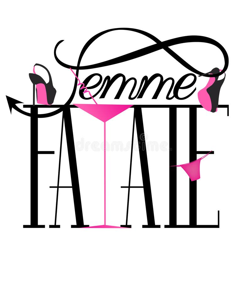 Επιστολές Femme fatale με τα παπούτσια της γυναίκας, το panty και γυαλί κοκτέιλ διανυσματική απεικόνιση