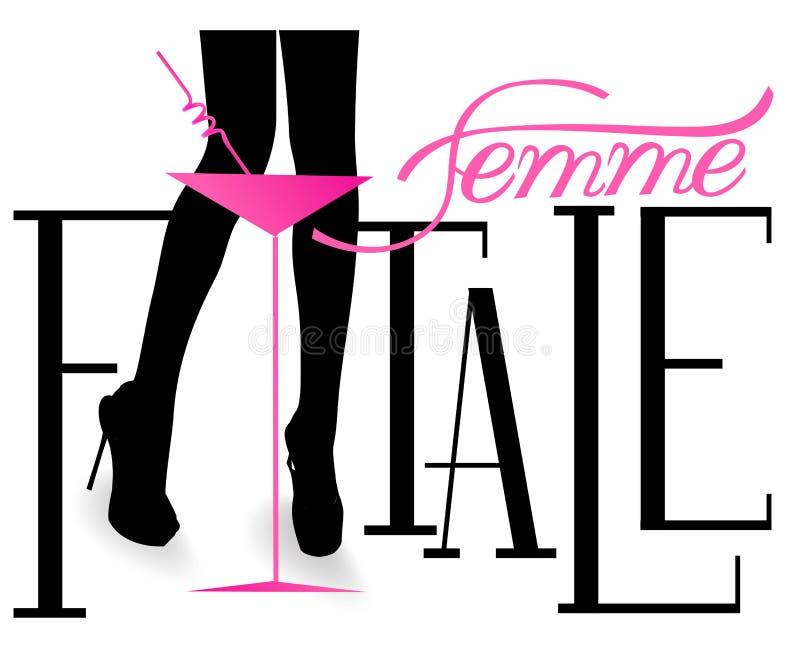 Επιστολές Femme fatale με τα πόδια της μακριάς γυναίκας και το γυαλί κοκτέιλ ελεύθερη απεικόνιση δικαιώματος