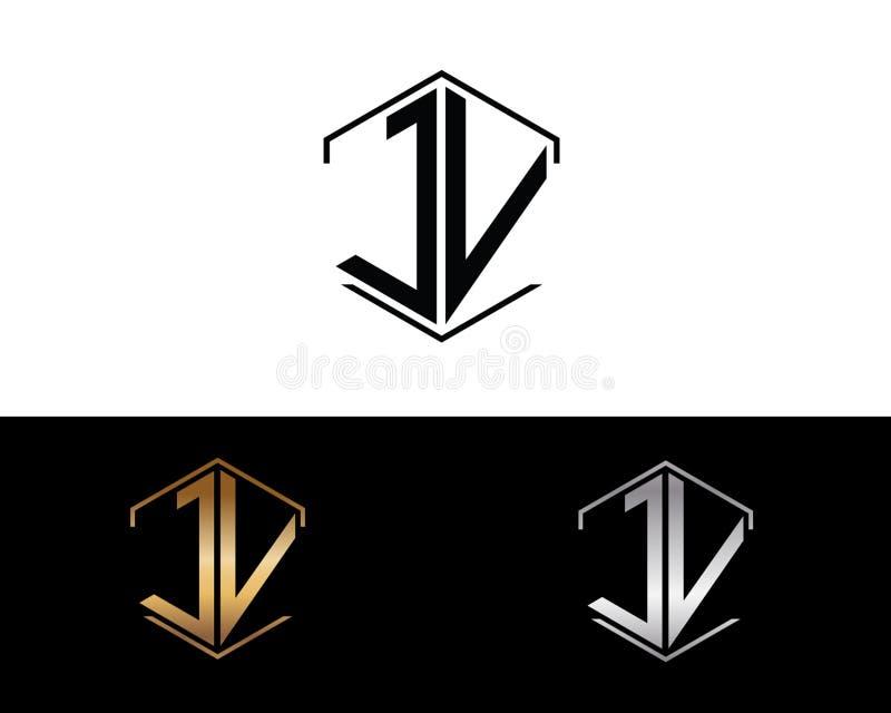 Επιστολές JV που συνδέονται με το hexagon λογότυπο μορφής ελεύθερη απεικόνιση δικαιώματος