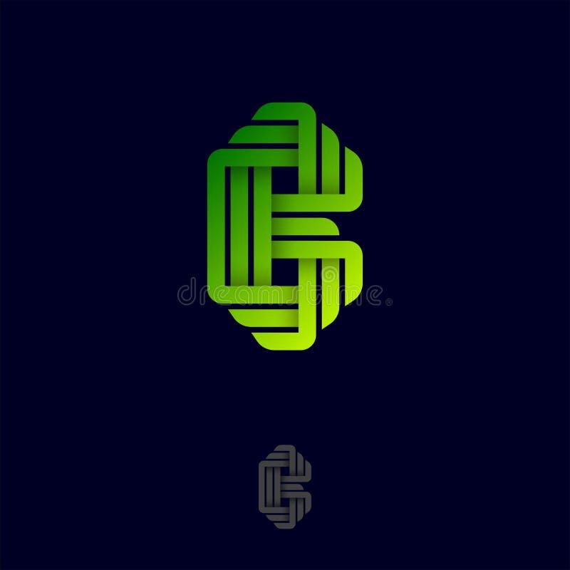 Επιστολή Β Λογότυπο Origami Μονόγραμμα κλίσης Β από τις κορδέλλες ή τις λουρίδες εγγράφου απεικόνιση αποθεμάτων