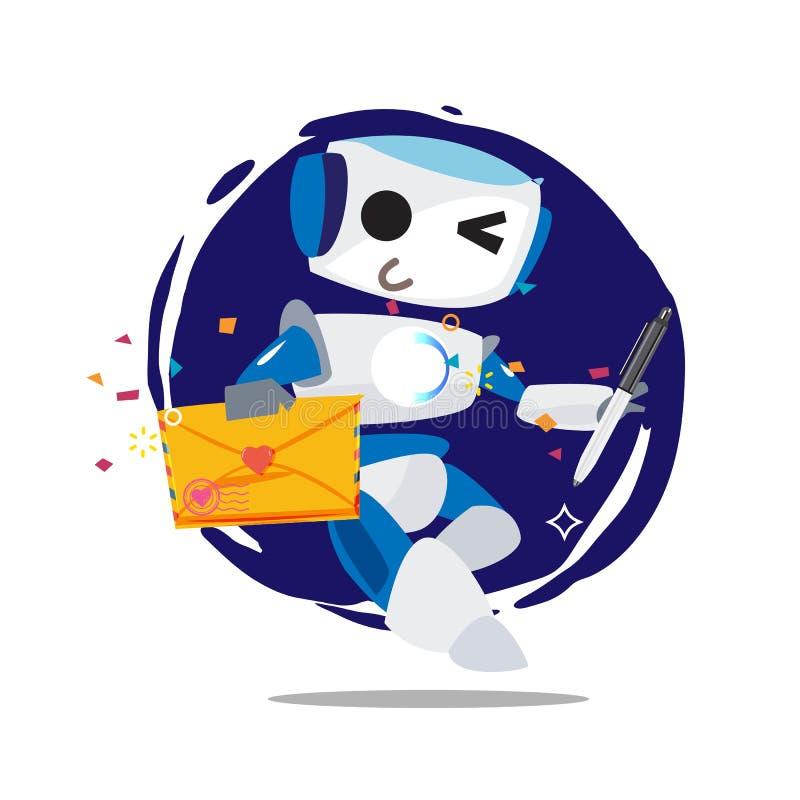 Επιστολή και μάνδρα αγάπης εκμετάλλευσης ρομπότ ropot με την αγάπη - ελεύθερη απεικόνιση δικαιώματος
