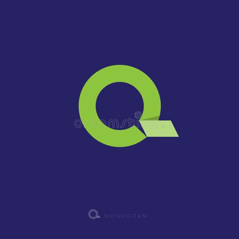 Επιστολή του Q Λογότυπο origami του Q Μονόγραμμα Γ Γράμμα Γ όπως μια πράσινη κορδέλλα απεικόνιση αποθεμάτων