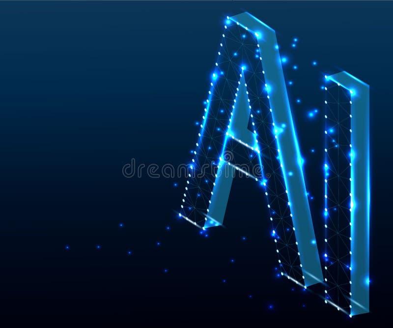 Επιστολή AI, πολύγωνο, isometric, μπλε 2 διανυσματική απεικόνιση