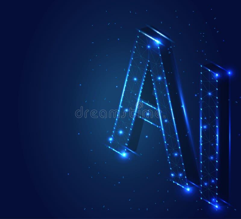 Επιστολή AI, πολύγωνο, isometric, 4mp 1 DT στοκ εικόνα