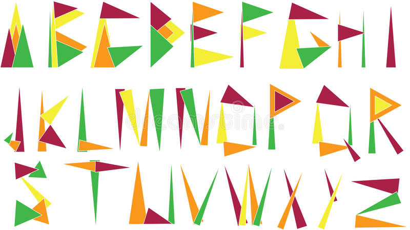 Επιστολές αλφάβητου που γίνονται από τα τρίγωνα ελεύθερη απεικόνιση δικαιώματος