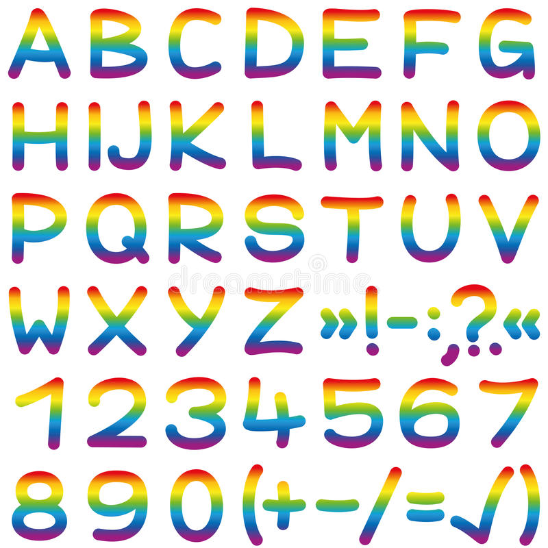 Επιστολές αλφάβητου χρωμάτων ουράνιων τόξων πηγών ελεύθερη απεικόνιση δικαιώματος