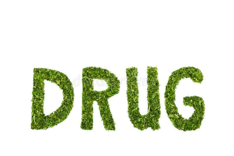 Επιστολές ΦΑΡΜΑΚΩΝ λέξης φιαγμένες από πράσινα φύλλα κάνναβης στοκ φωτογραφίες με δικαίωμα ελεύθερης χρήσης