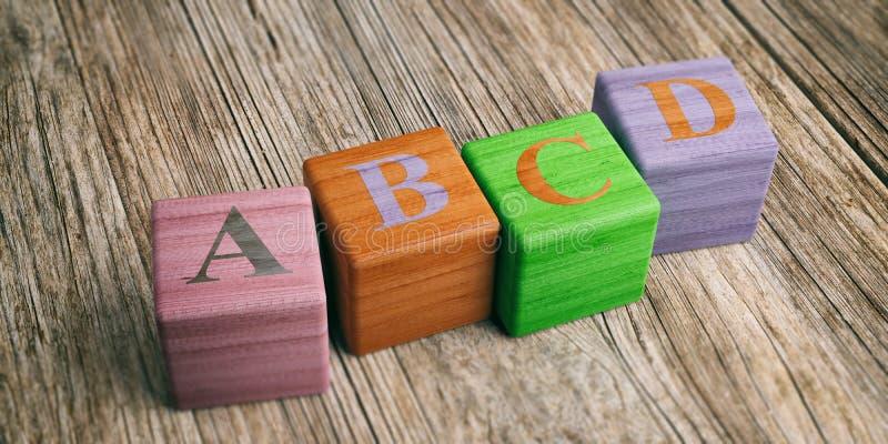 Επιστολές abcd στους ξύλινους φραγμούς τρισδιάστατη απεικόνιση ελεύθερη απεικόνιση δικαιώματος