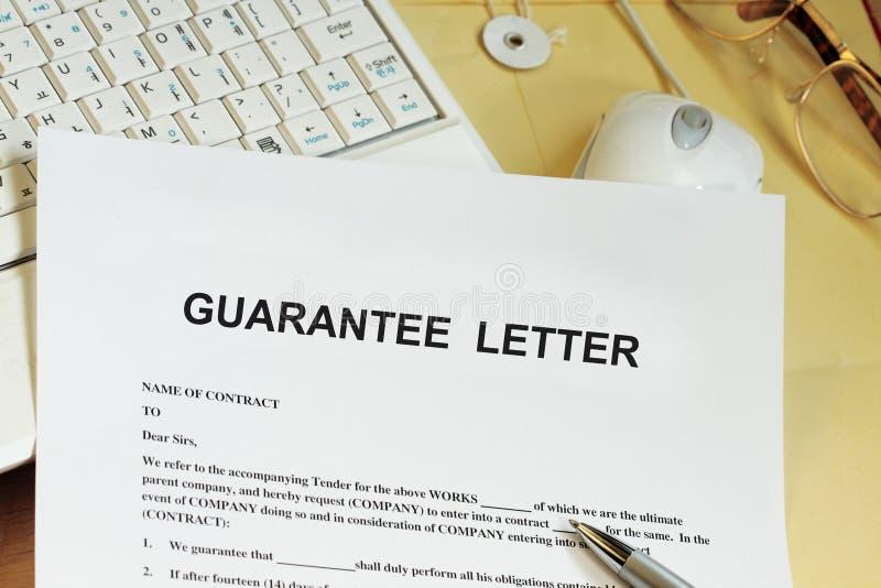 Επιστολή εγγύησης στοκ εικόνα με δικαίωμα ελεύθερης χρήσης