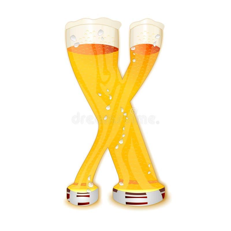 Επιστολή Χ αλφάβητου μπύρας διανυσματική απεικόνιση