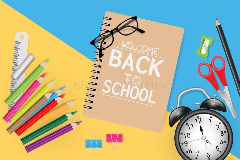 Επιστροφή στο σχολικό κείμενο σε σημειωματάριο με σχολικές προμήθειες σε μπλε και κίτρινο χαρτί απεικόνιση αποθεμάτων