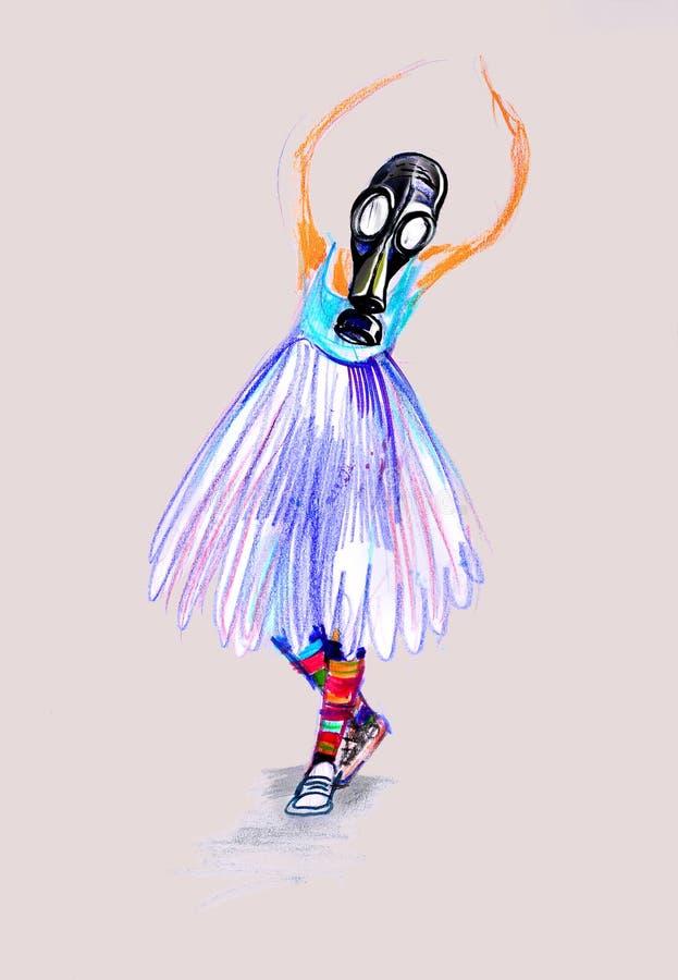 Επισύροντας την προσοχή σε χαρτί του κοριτσιού στη μάσκα αερίου, παίζοντας μπαλέτο στοκ εικόνα